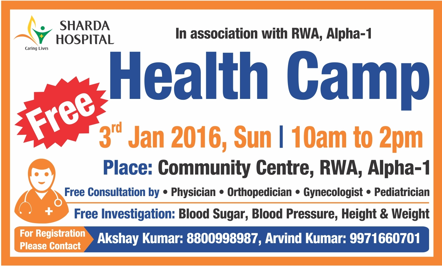 Free health check up camp community center rwa alpha i for Registrator health check