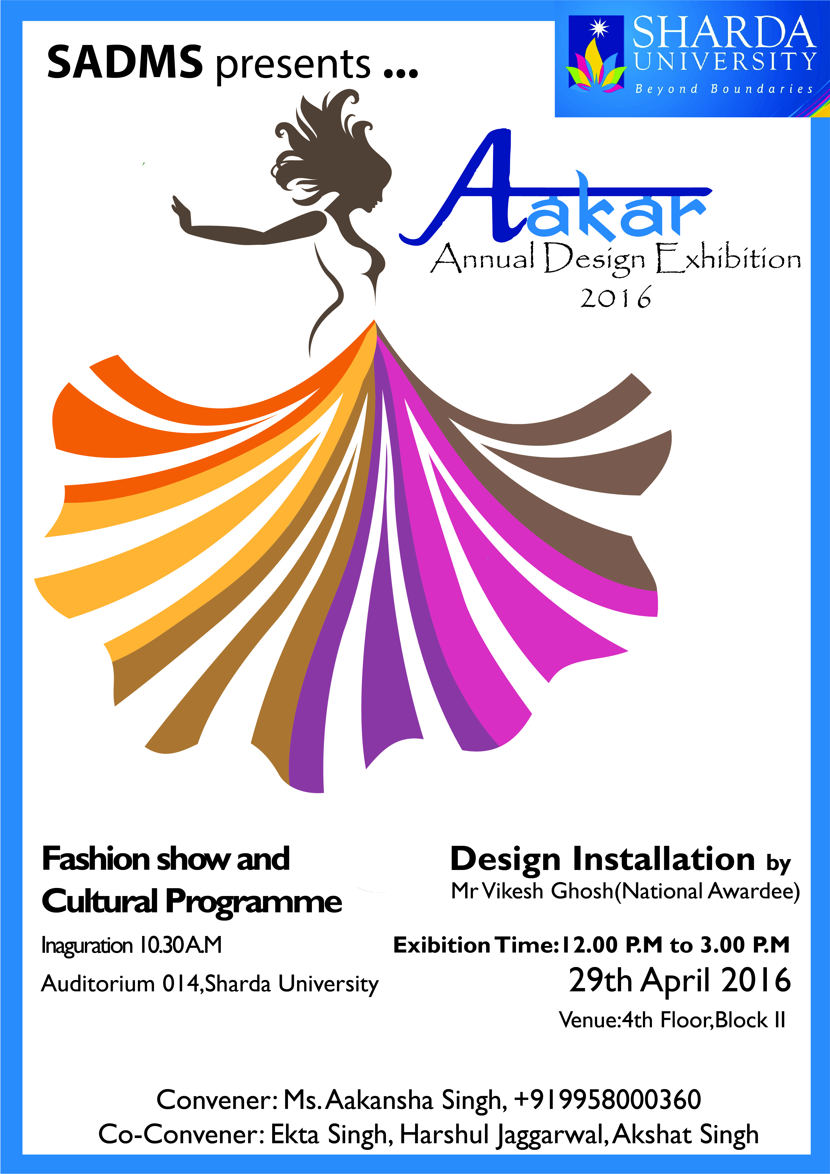 Aakar Annual Design Exhibition By Fashion Design Students Of Sadms On 29th April 16 Sharda University Event Calander