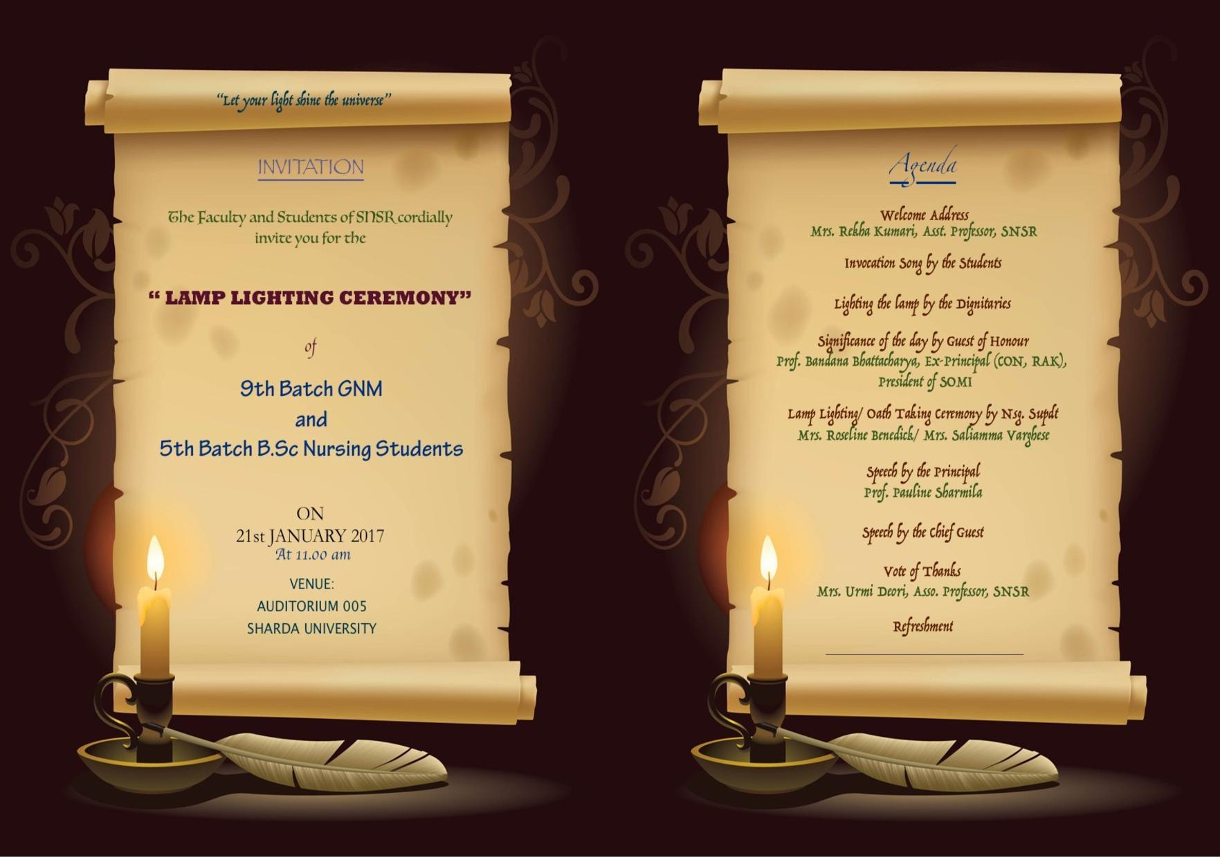 agenda l& lighting-page-001 & agenda lamp lighting-page-001 | Sharda University Event Calander