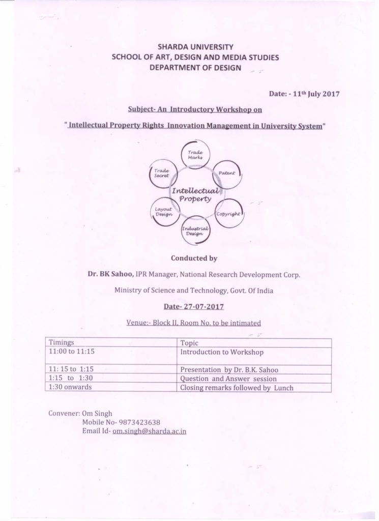 """Introductory Faculty Workshop on """"Intellectual Property Rights Innovation Management in University System"""" on 27th July 17 @ 802, 8th floor, Block II, Sharda University, Greater Noida"""