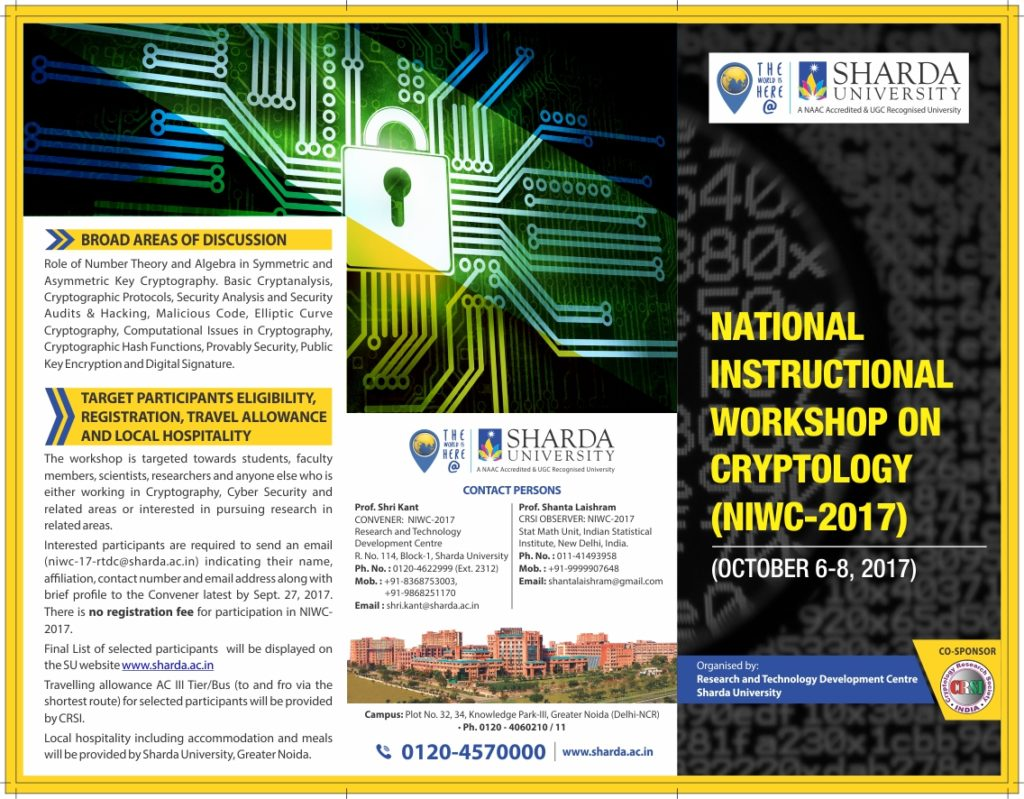 National Instructional Workshop In Cryptology Niwc 2017 Rtdc On 6th 8th Oct 17 Sharda University Event Calander