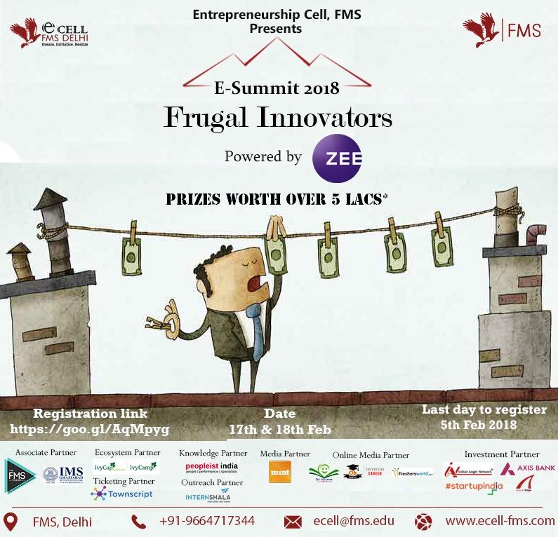 Entrepreneurship Summit 2018 - FMS, Delhi | Free Registration | 17th-18th Feb 2018