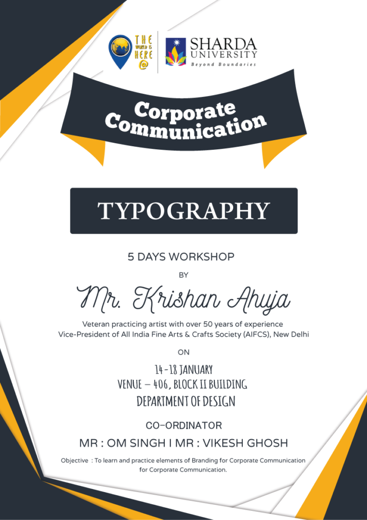 5 Day workshop on Corporate Communication Design @ Room No. 406, 4th floor, Block II, Sharda University