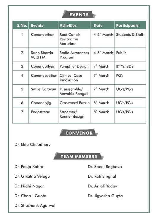 "School of Dental Sciences (SDS), Department of Conservative Dentistry &  Endodontics celebrating ""NATIONAL CONS AND ENDO"" DAY. In collaboration with Indian Association of Conservative Dentistry &  Endodontics form Monday 4th March to Friday 8th March 2019. @ School of Dental Sciences, Department of Conservative Dentistry & Endodontics"