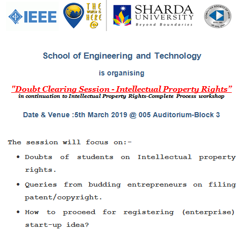"School of Engineering and Technology is organizing ""Doubt Clearing Session-Intellectual Property Rights"" 