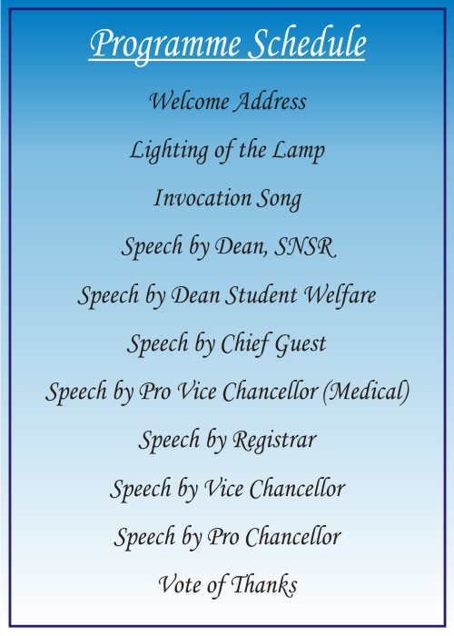 """School of Nursing Science & Research(SNSR), Sharda University is organizing """"Orientation Programme"""" for the new session of 2019-2020 ,  from  29th  Aug. to 4th Sep. 2019 @ Venue for 29.08.19 : SMSR AUDI ,  31st August Block 2, Audi 014, 2nd Sep to 4th Sep Block 4"""