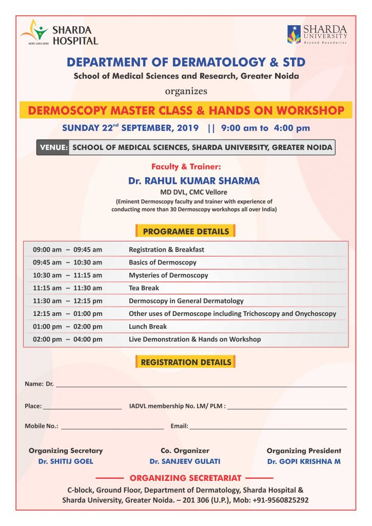 """Department of Dermatology & STD, SMS&R is Organising on """"Dermoscopy Master Class & Hands on Workshop on 22nd Sep. 2019"""" @ SMS&R, Medical Education Unit"""