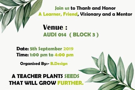Teachers Day, 5th September, 2019 @ Sharda University, Block III, Audi 014, Ground floor