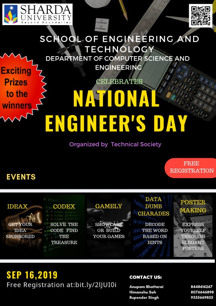 Technical Society | Department of Computer Science and Engineering, (SET) | Celebrates | ENGINEER'S DAY| 16th September 2019 @ 014, Auditorium