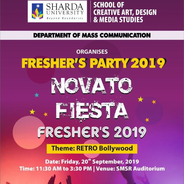 Department of Mass Communication, SCADMS to organize 'Freshers Party' on 20th September, 2019. @ SMSR Audi