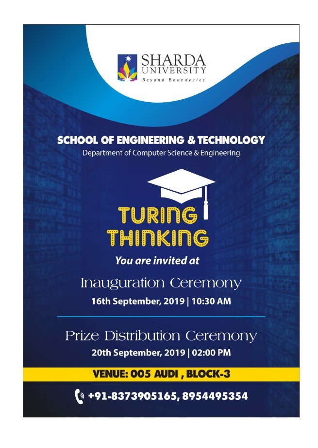 """""""TURING THINKING"""" : Department of Computer Science and Engineering is conducting a programming event on 16th ,17th & 20th September 2019 for 3rd year (B.Tech/BCA/M.Sc) of CSE, SET @ 005 Auditorium(B-3) & Lab 211,214(B-1)"""