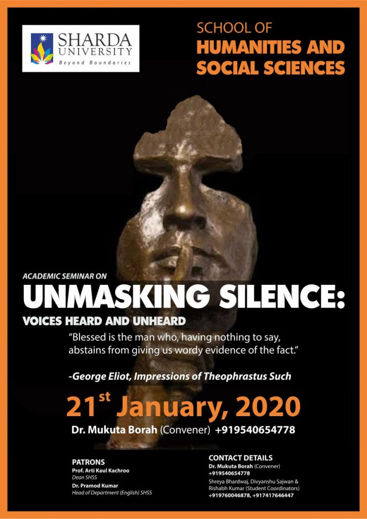 """Academics National Seminar ""Unmasking Silence Voices Heard and Unheard"" @ VII Block, 8th floor, Sharda University"