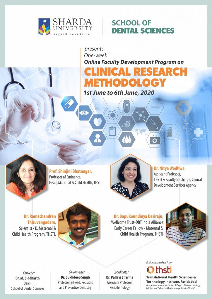 "One-week Online Faculty Development Program  on ""Clinical Research Methodology"" @ Sharda University"