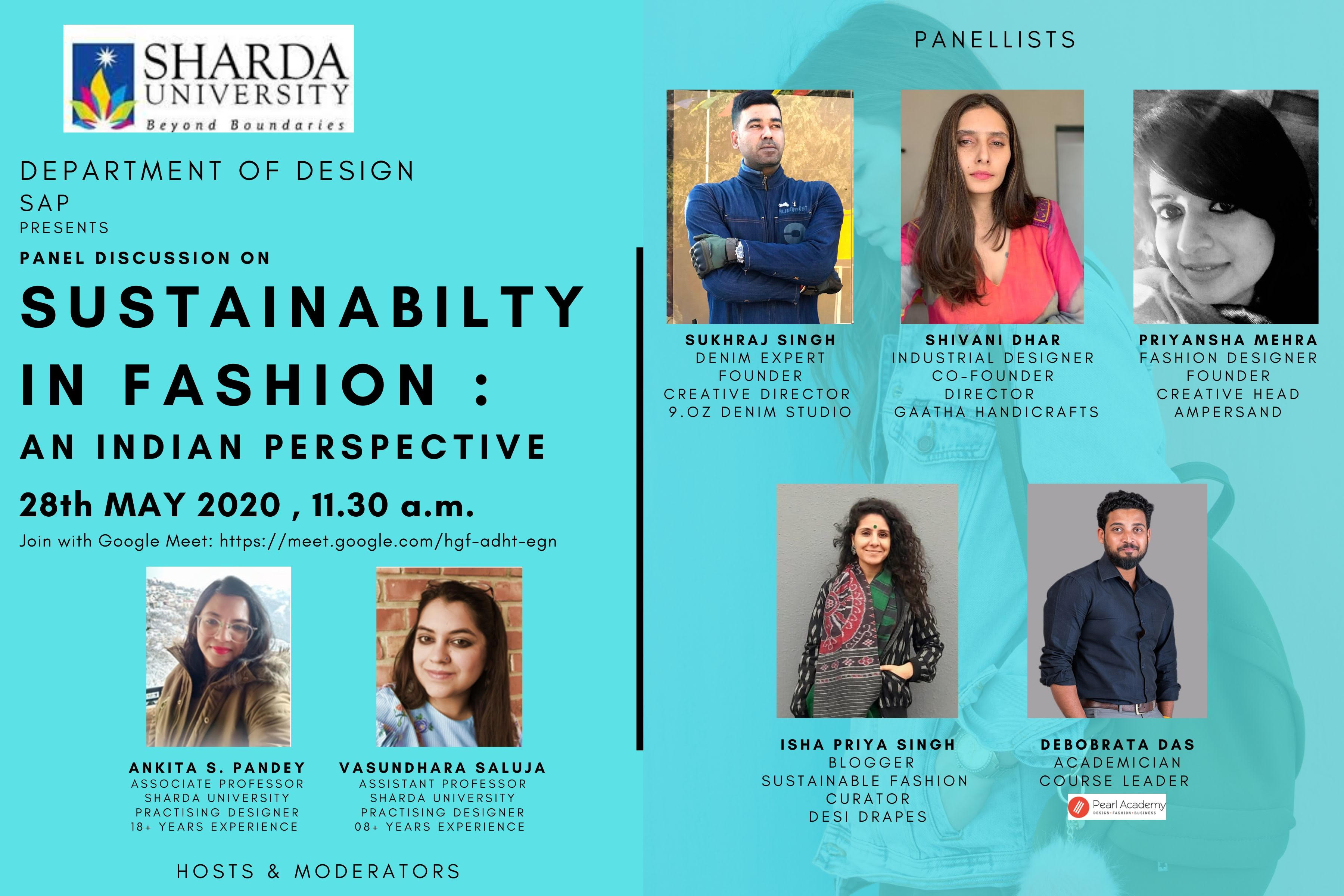 Panel Discussion On Sustainability In Fashion An Indian Perspective Sharda University Event Calander