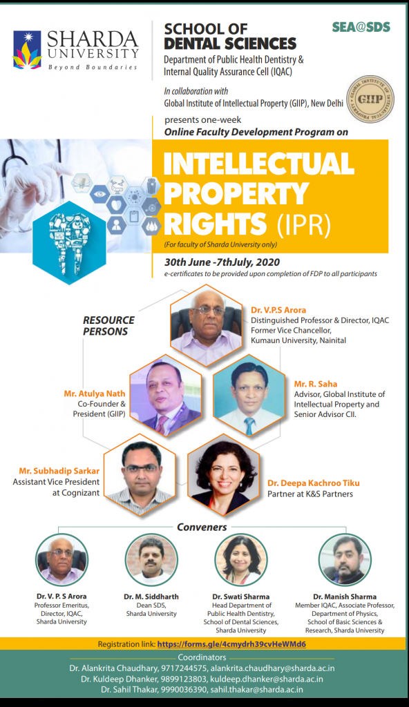 "Online Faculty Development Program on ""Intellectual Property Rights"" @ School of Dental Sciences"