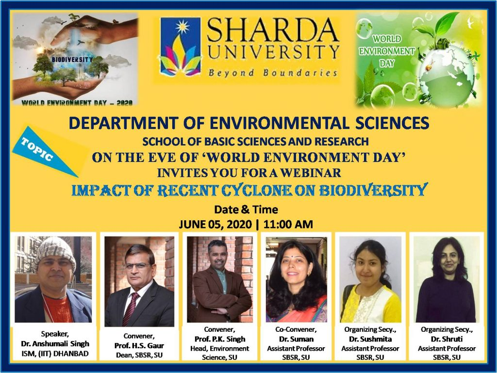 "Dept. of Environmental Sciences, SBSR is organizing a Webinar on ""Impact of Recent Cyclones on Biodiversity"""