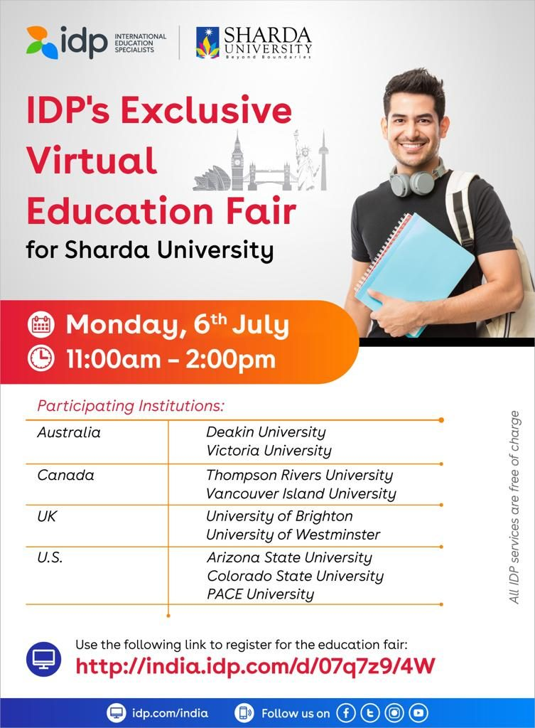 International Relations Division and Career Counseling Centre in collaboration with International Education Specialist (IDP) are organizing Webifair on Insights of Study Abroad on July 06, 2020 @ Online