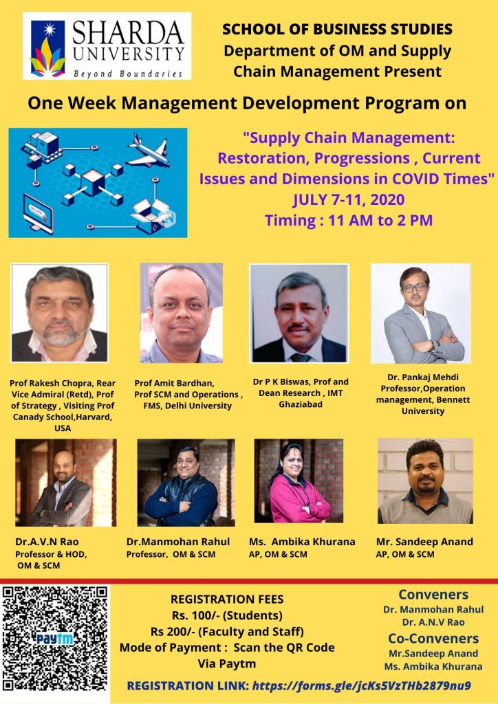 "Management Development Program on ""Operations and Supply Chain Management :Restoration , Progressions ,Current Issues and Dimensions in Covid-19 Times"" 