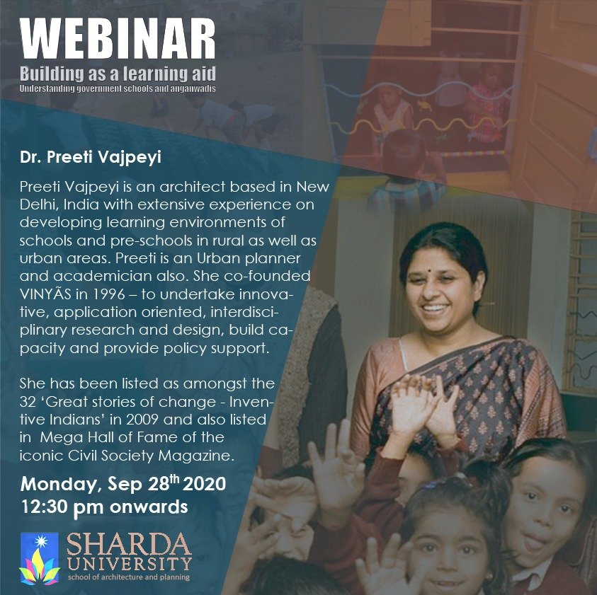 "Webinar by Dr. Preeti Vajpeyi on ""Building as a learning aid"" @ Google Meet"