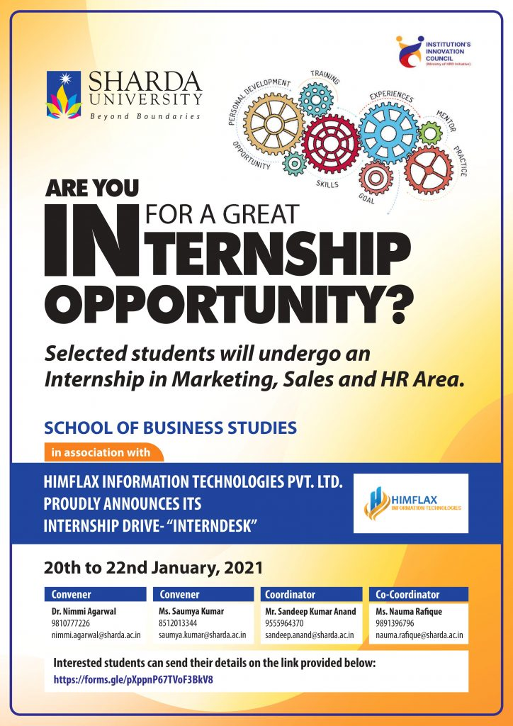 """Launch of Internship Drive – """"InternDesk"""", for SBS students @ online"""