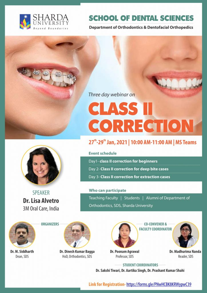 "3 days Webinar on ""Class II Correction"" @ Department of Orthodontics & Dentofacial Orthopedics, SDS"