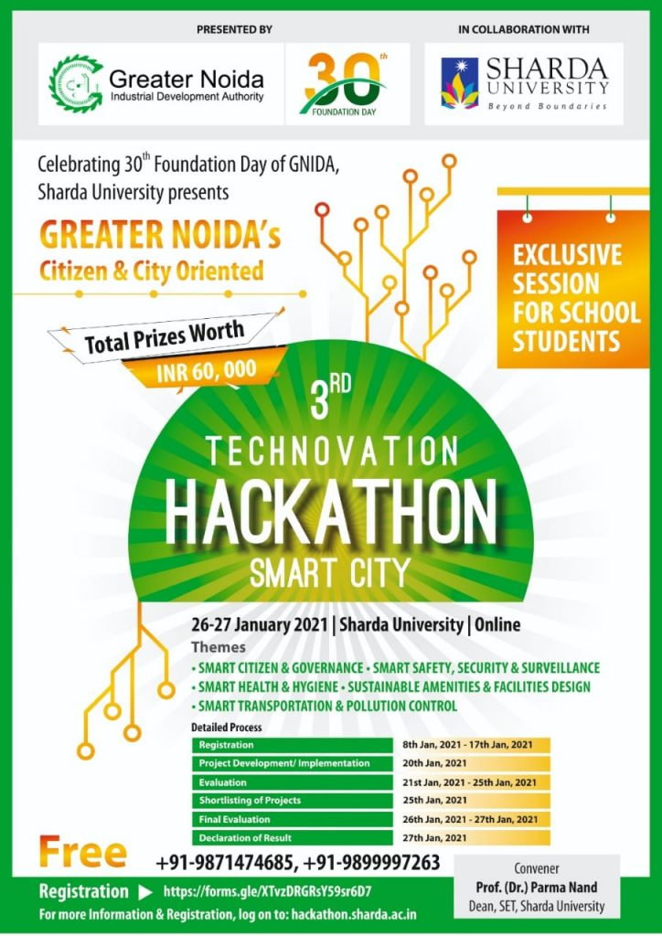 """3 rd Technovation Hackathon Smart City"" from 20-27 January 2021."