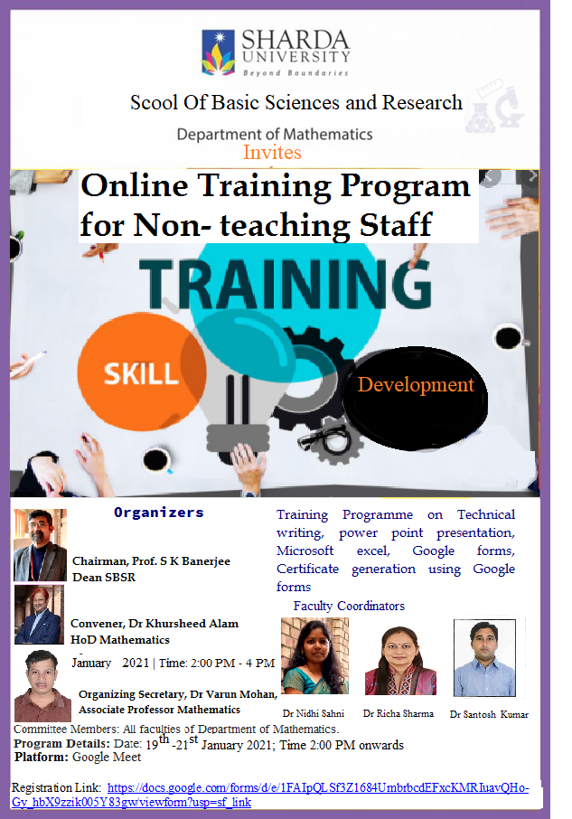 Department of Mathematics, SBSR Organizing an Online | Skill Development | Training Program for Non- teaching Staff on 19th -21st January   2021 @ google meet
