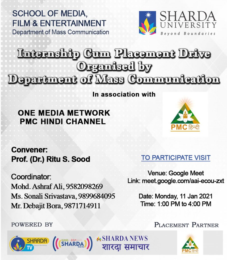 Internship Cum Placement Drive organised by Department of Mass Communication on Monday 11th January 2021.