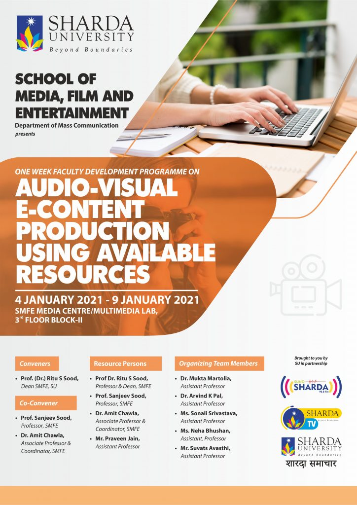 One-Week FDP on 'Audio-Visual E-Content Production using Available Resources' I SMFE I January 4th to 9th, 2021