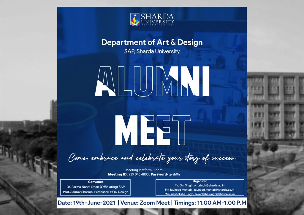 Department of Art & Design, Alumni Meet - 19th June ,2021 in association with Patna and Hyderabad Chapter @ Virtual Mode