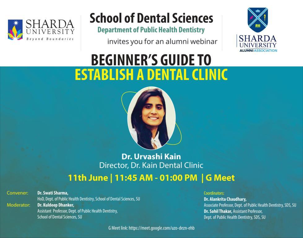 Beginner's Guide To Establish A Dental Clinic – Talk by SDS Alumni @ SDS, Sharda University