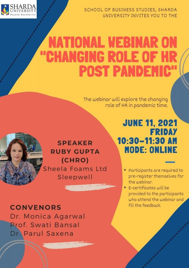 """Webinar on 'Changing role of HR Post Pandemic"""" @ ONLINE"""