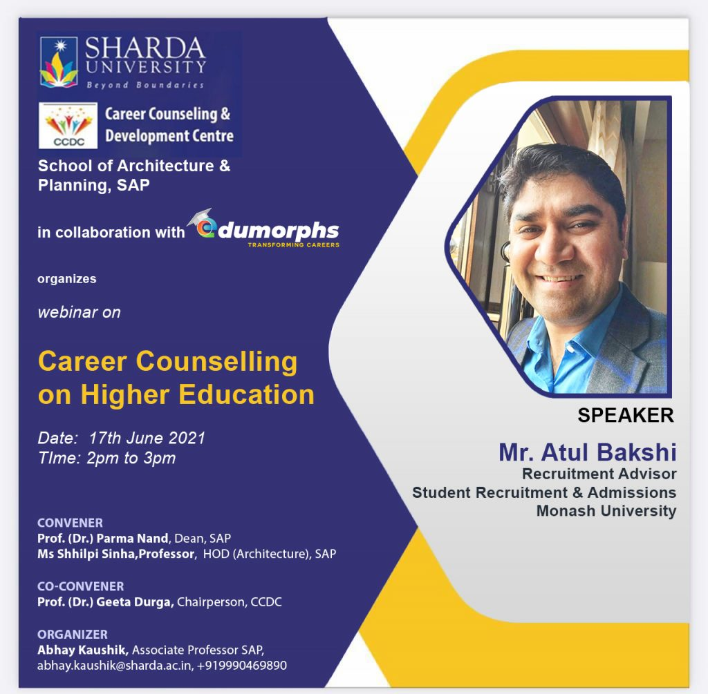 """Webinar on """"Career Counselling on Higher Education"""" for the Students, on 17th June, 2021 (Thursday) @ Online"""