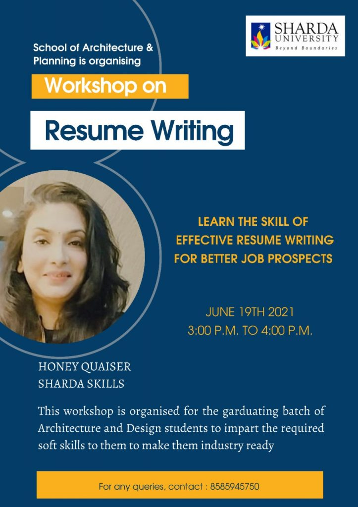 Workshop – Learn the Skill of effective resume writing for better Job prospects @ virtual