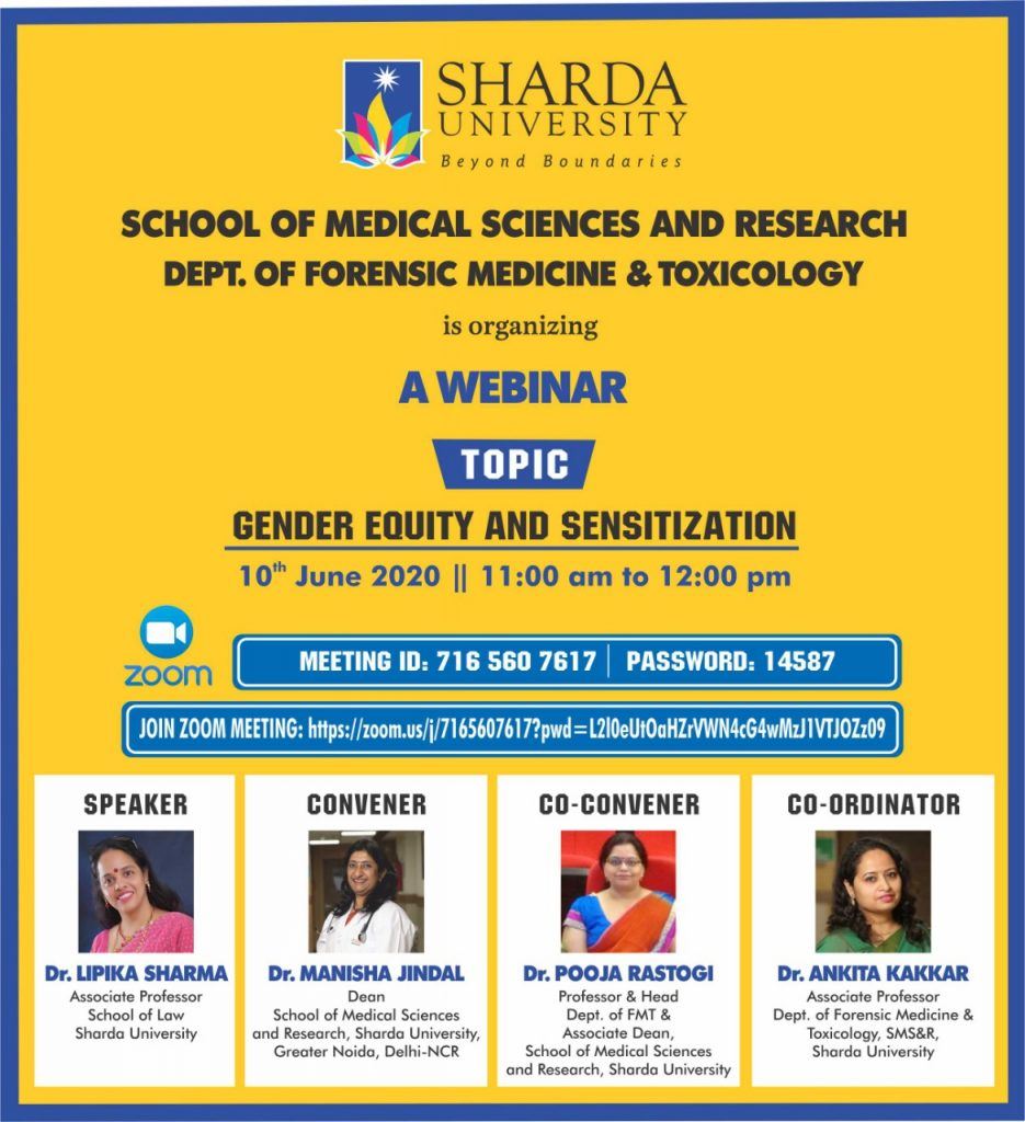 """Department of Forensic Medicine & Toxicology  is organizing a webinar """"Gender Equity and Sensitization""""  on 10th June 2021 @ Online - ZOOM"""