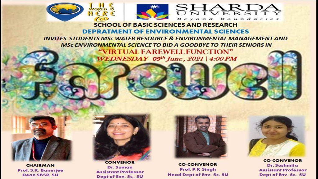 Virtual Farewell/ Dept of Environmental Sciences, SBSR/ 9th June, 2021 @ Google Meet